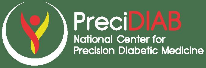 Logo PRECIDIAB - allonge ENG en blanc pour footer